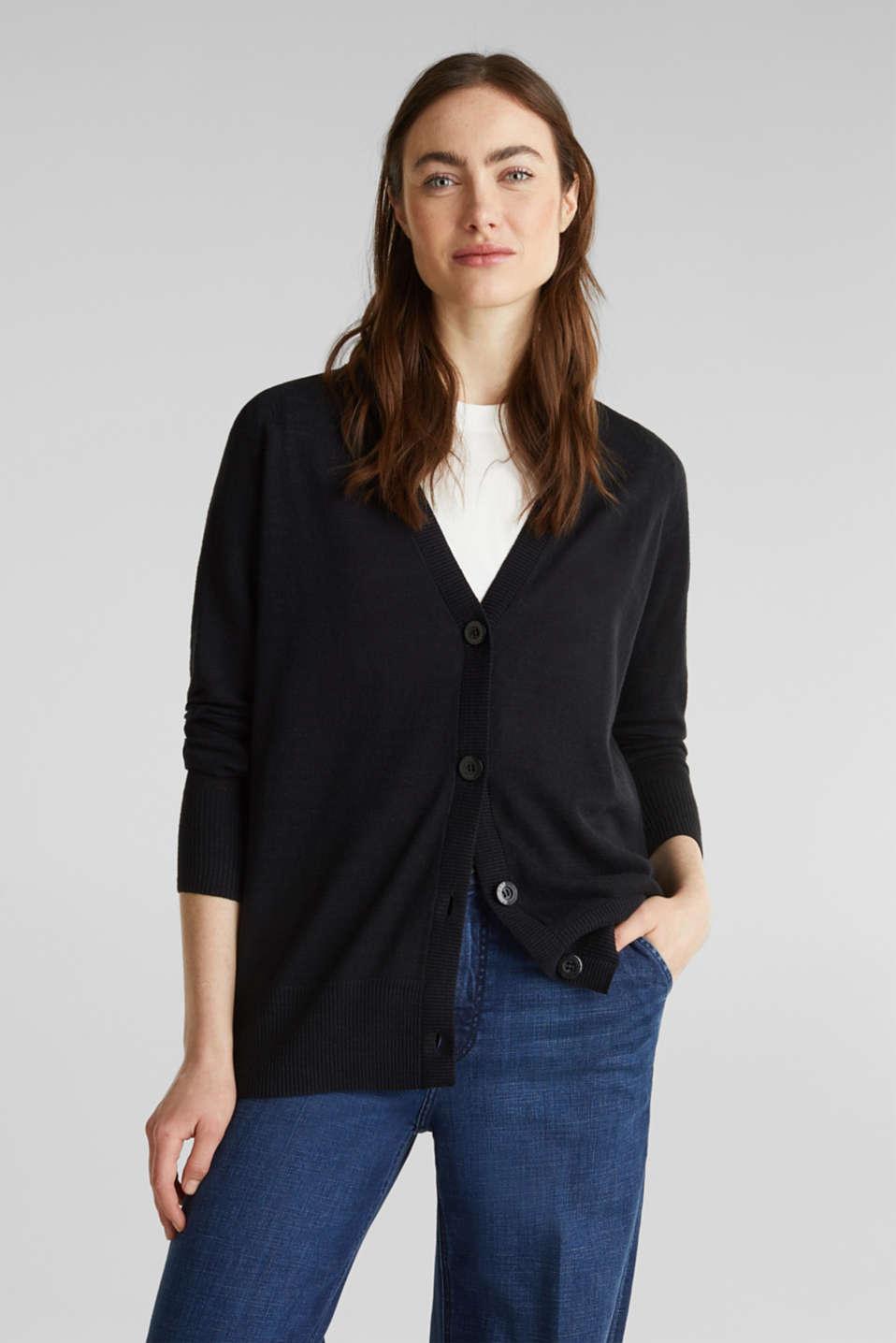 Blended linen: V-neck cardigan, BLACK, detail image number 0