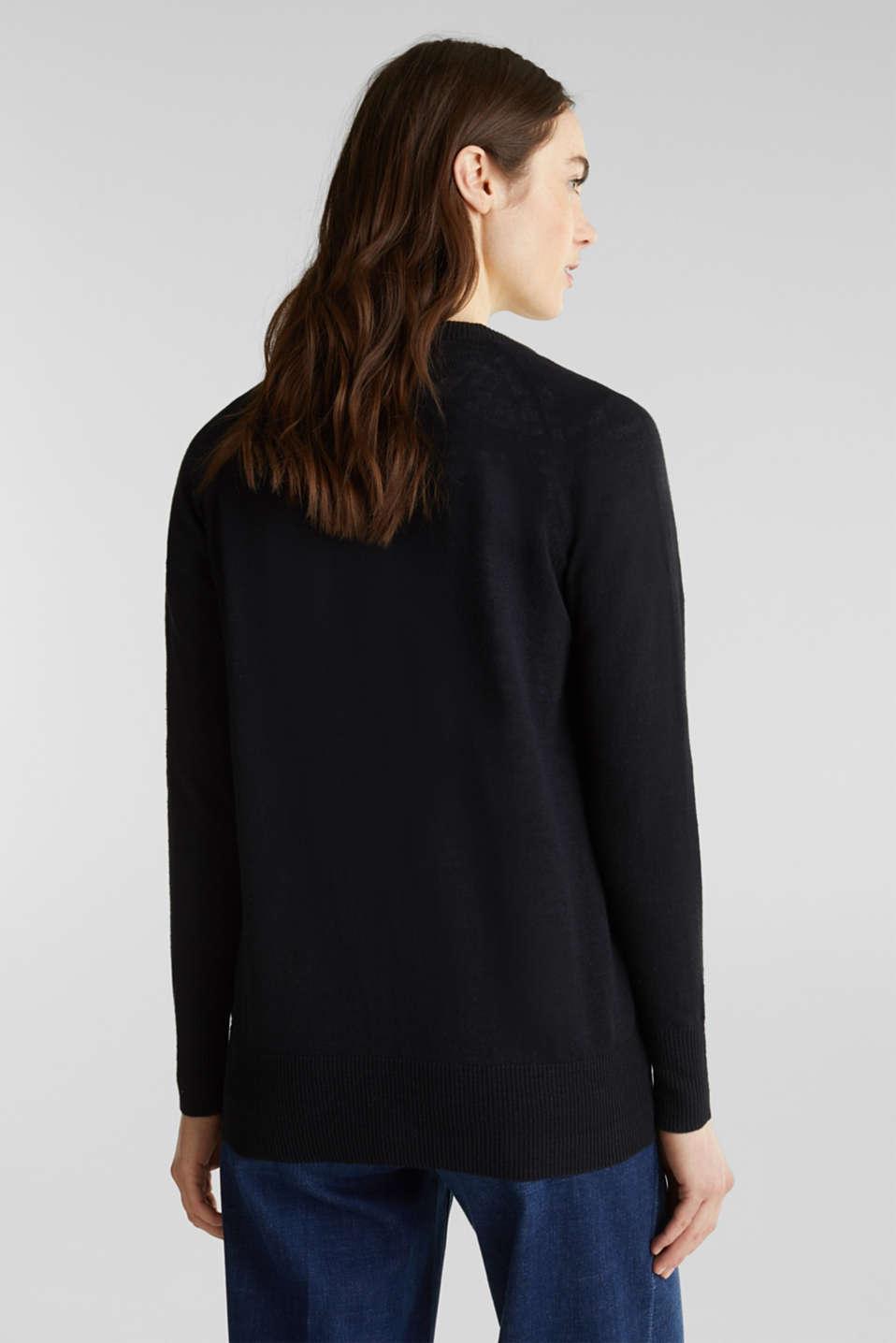 Blended linen: V-neck cardigan, BLACK, detail image number 3