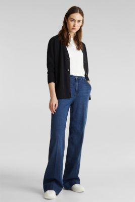Blended linen: V-neck cardigan, BLACK, detail