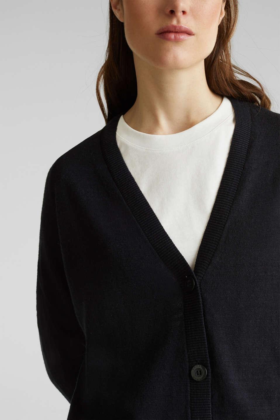 Blended linen: V-neck cardigan, BLACK, detail image number 2
