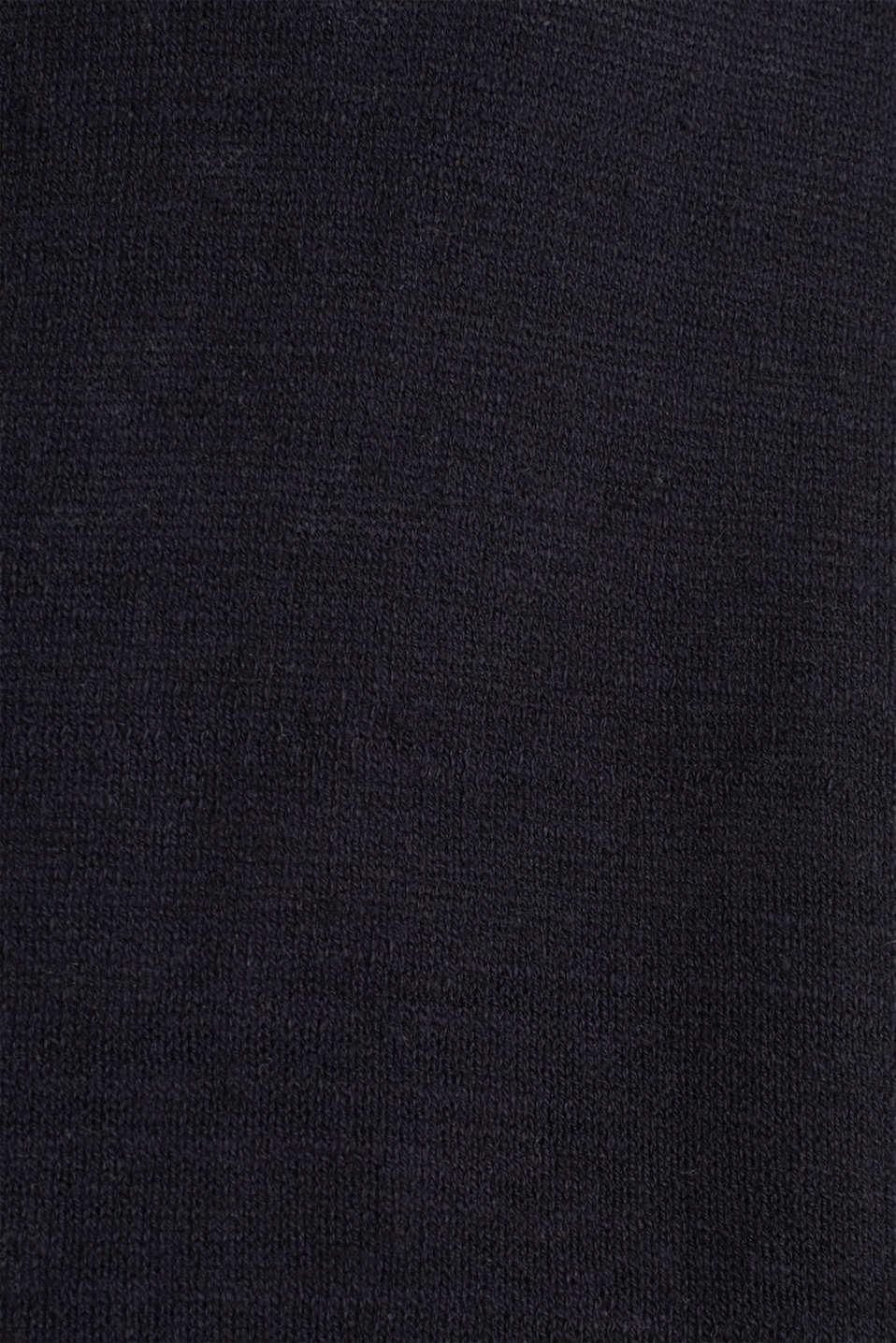 Blended linen: V-neck cardigan, BLACK, detail image number 4