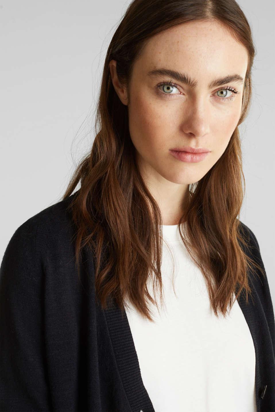 Blended linen: V-neck cardigan, BLACK, detail image number 6