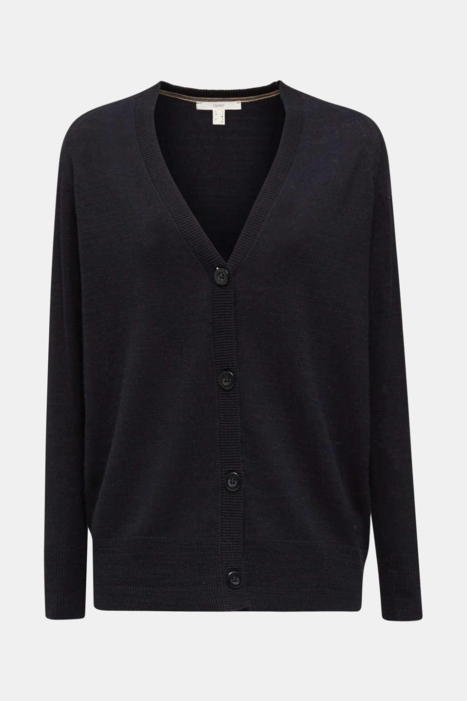 Blended linen: V-neck cardigan, BLACK, detail image number 7