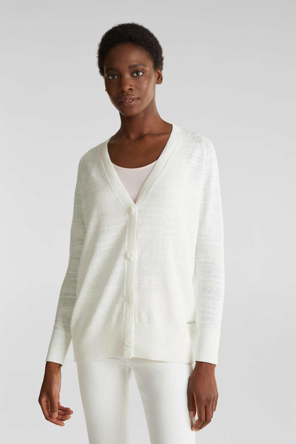 Blended linen: V-neck cardigan, OFF WHITE, detail image number 0