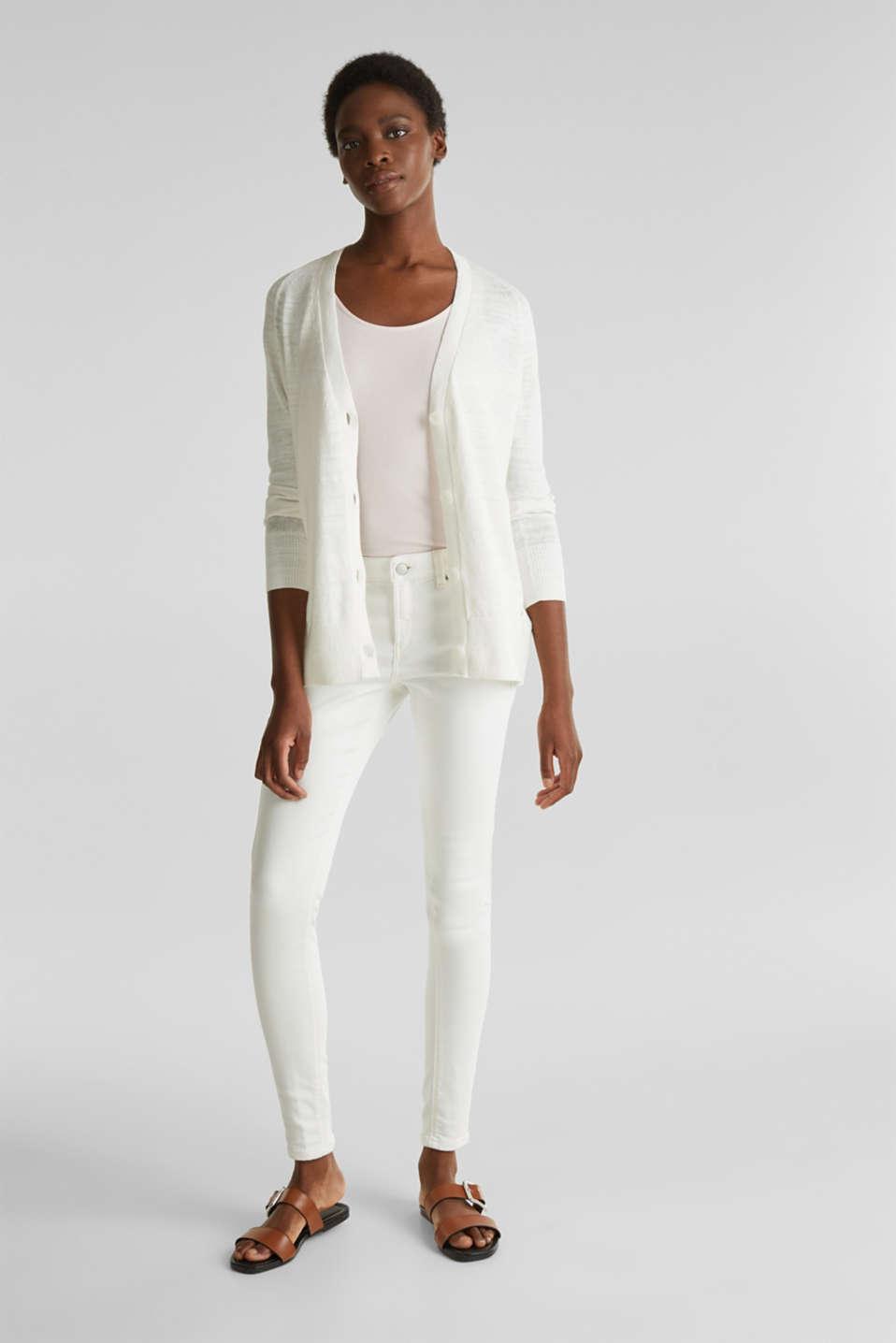 Blended linen: V-neck cardigan, OFF WHITE, detail image number 1