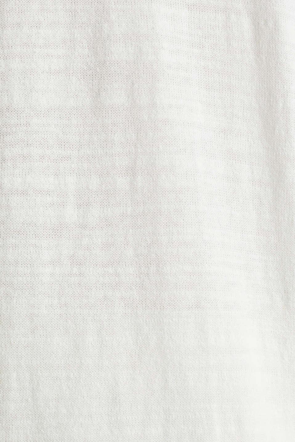 Blended linen: V-neck cardigan, OFF WHITE, detail image number 3