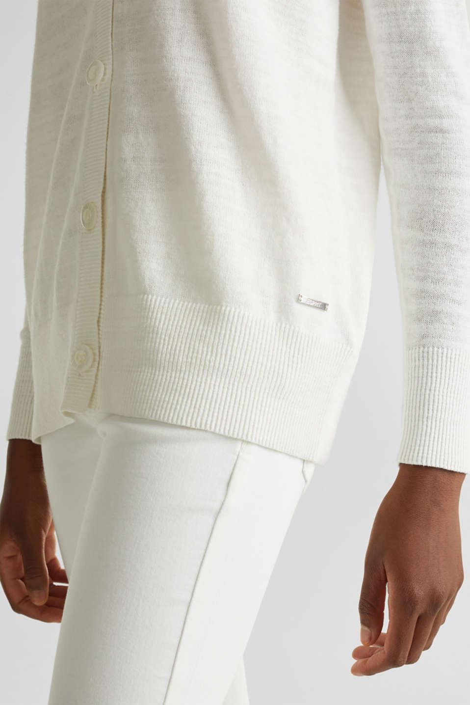 Blended linen: V-neck cardigan, OFF WHITE, detail image number 4