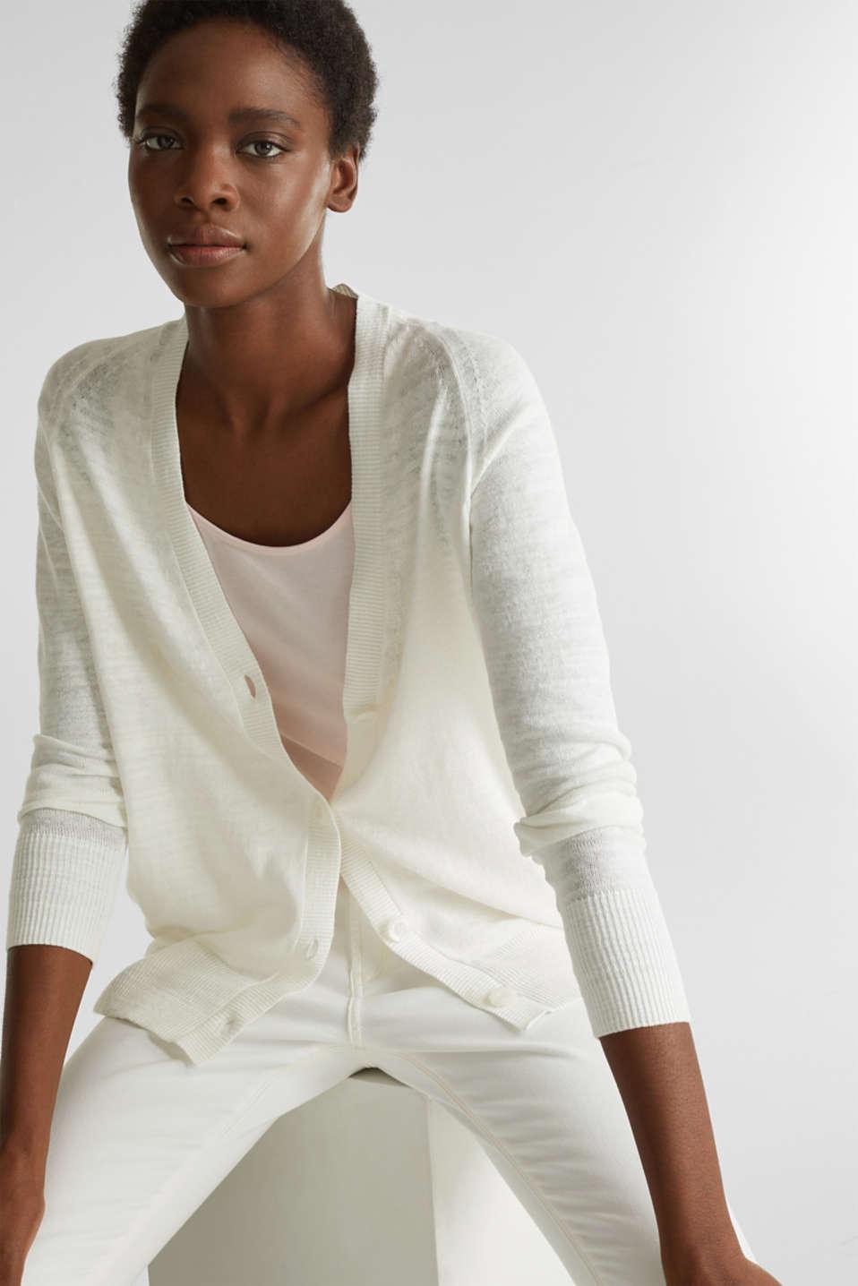 Blended linen: V-neck cardigan, OFF WHITE, detail image number 5