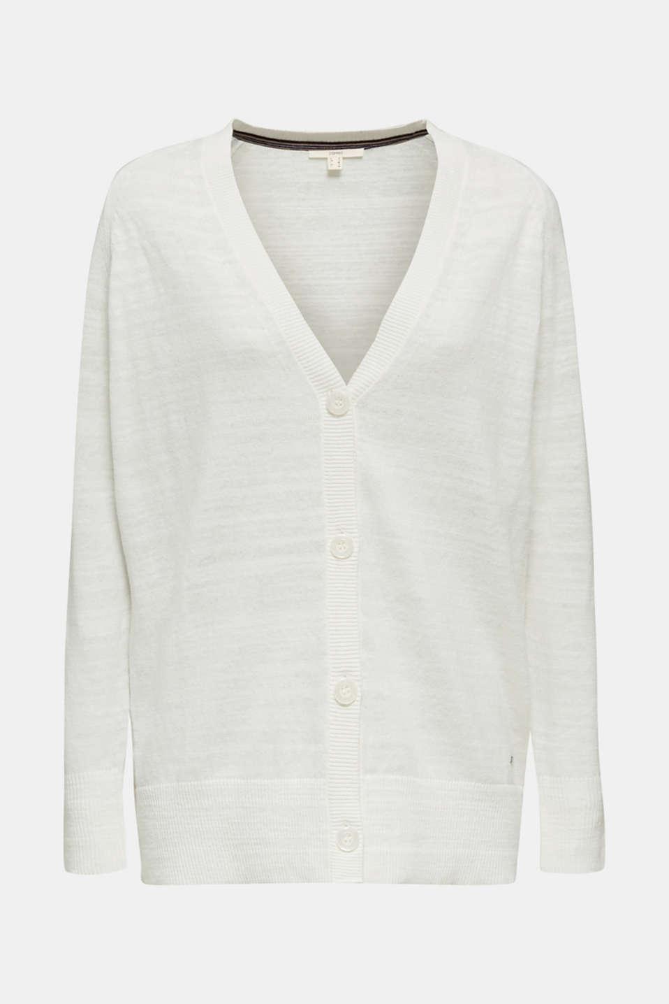 Blended linen: V-neck cardigan, OFF WHITE, detail image number 6