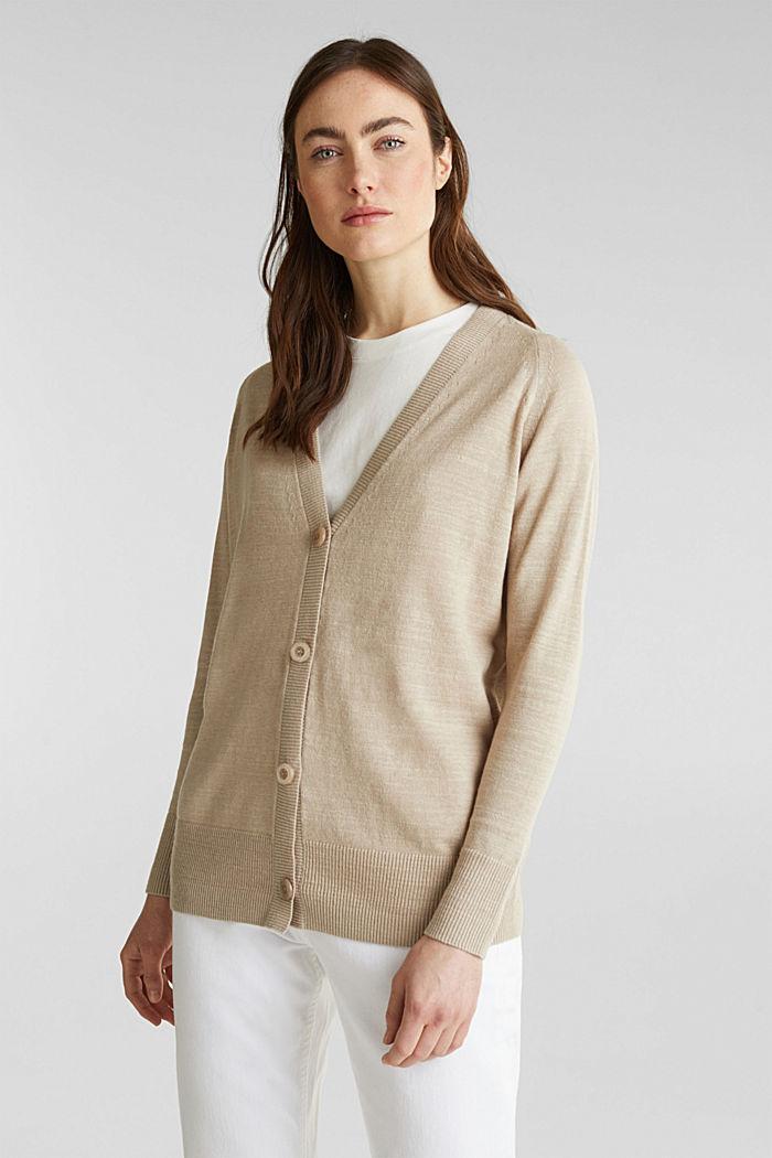 Blended linen: V-neck cardigan, BEIGE, detail image number 0