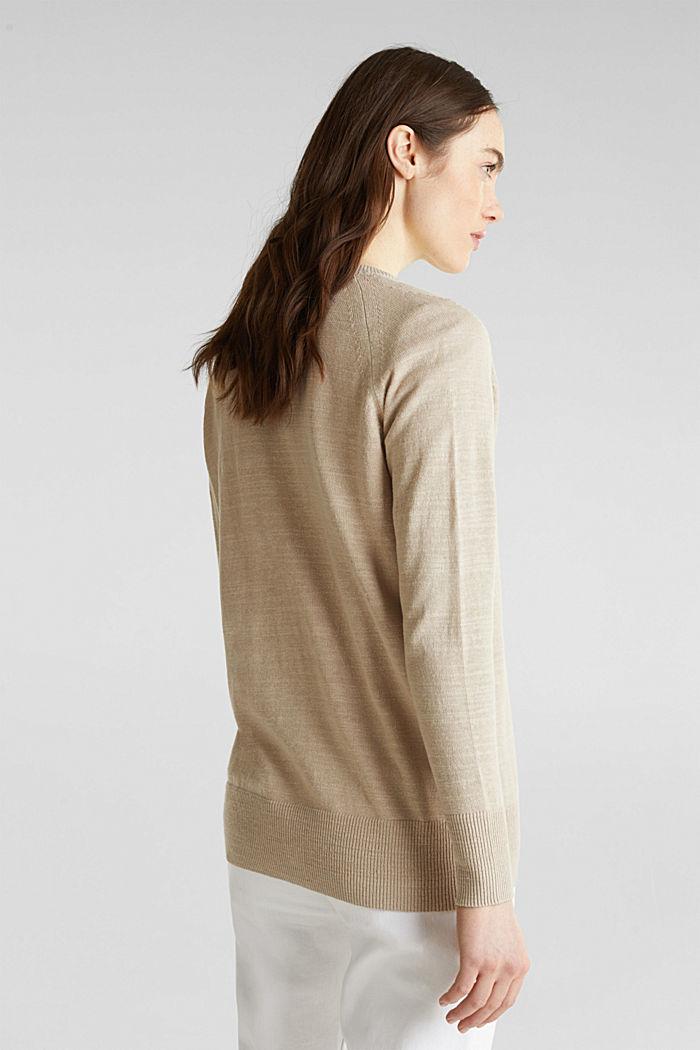 Blended linen: V-neck cardigan, BEIGE, detail image number 2