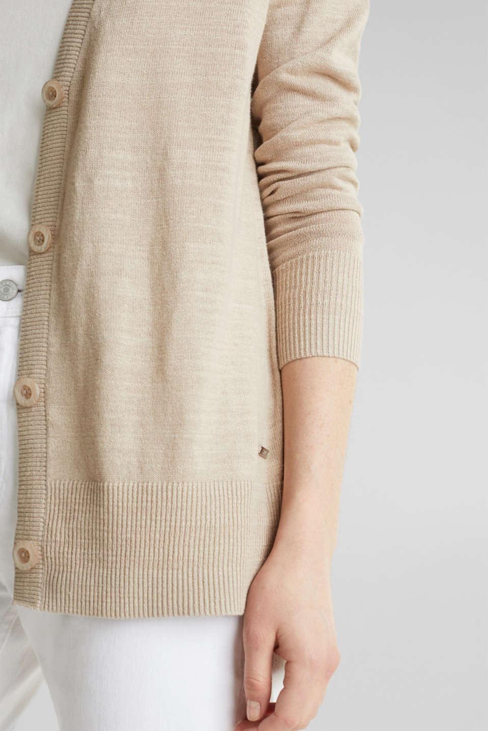 Blended linen: V-neck cardigan, BEIGE, detail image number 1
