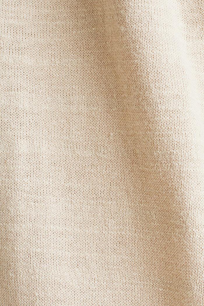 Blended linen: V-neck cardigan, BEIGE, detail image number 3