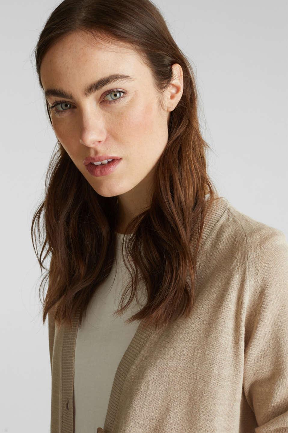 Blended linen: V-neck cardigan, BEIGE, detail image number 4
