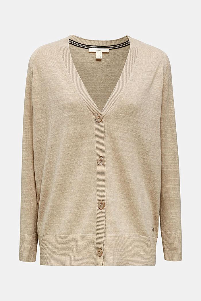 Blended linen: V-neck cardigan, BEIGE, detail image number 5