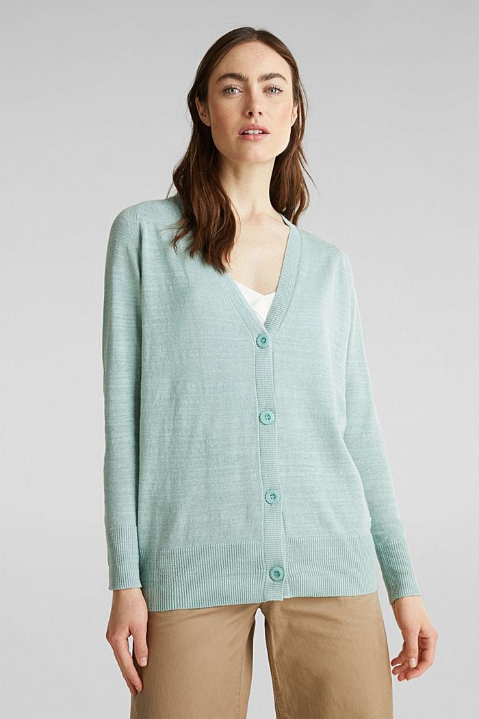 Blended linen: V-neck cardigan, LIGHT AQUA GREEN, detail image number 0