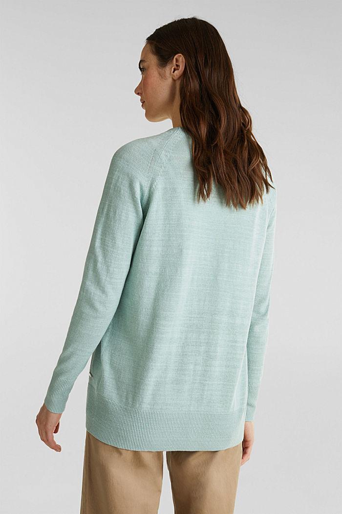 Blended linen: V-neck cardigan, LIGHT AQUA GREEN, detail image number 3