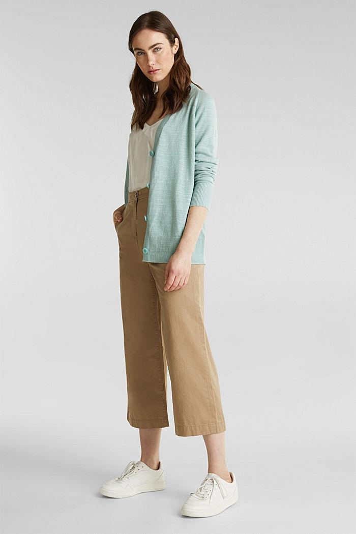 Blended linen: V-neck cardigan, LIGHT AQUA GREEN, detail image number 1