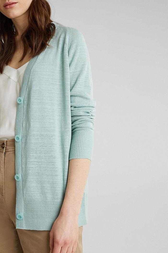 Blended linen: V-neck cardigan, LIGHT AQUA GREEN, detail image number 2