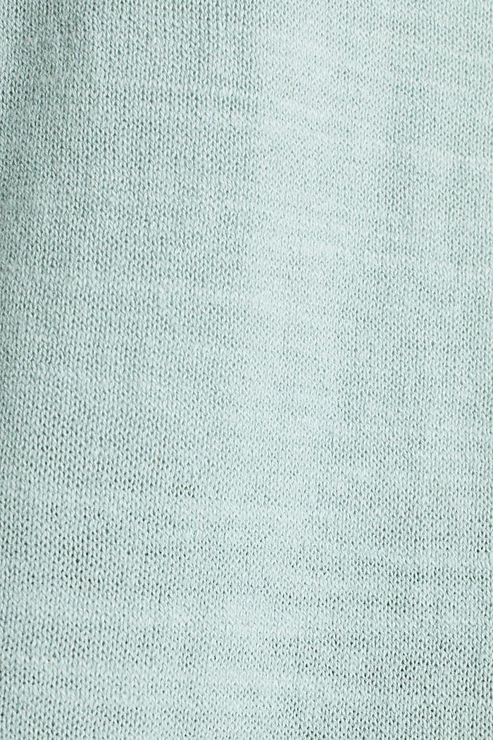 Blended linen: V-neck cardigan, LIGHT AQUA GREEN, detail image number 4