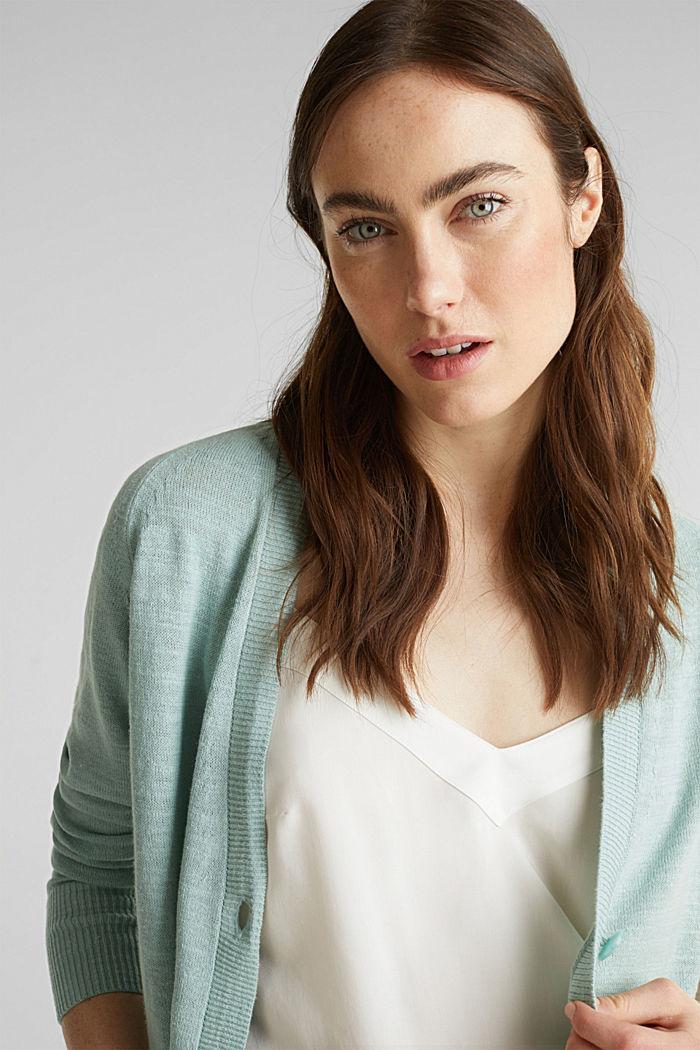 Blended linen: V-neck cardigan, LIGHT AQUA GREEN, detail image number 5