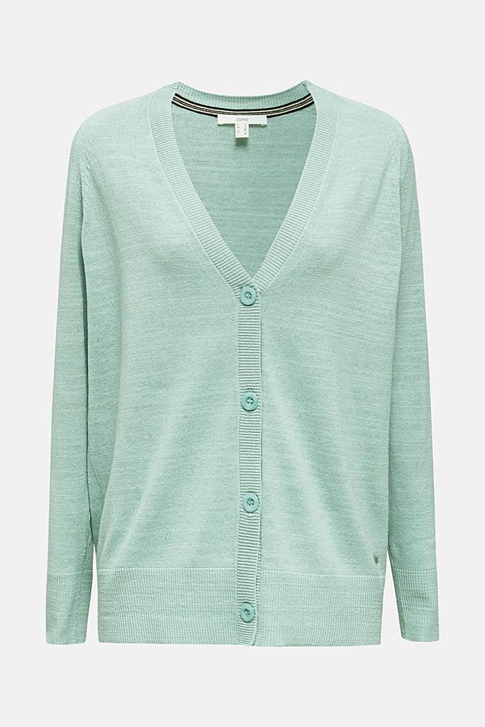 Blended linen: V-neck cardigan, LIGHT AQUA GREEN, detail image number 6