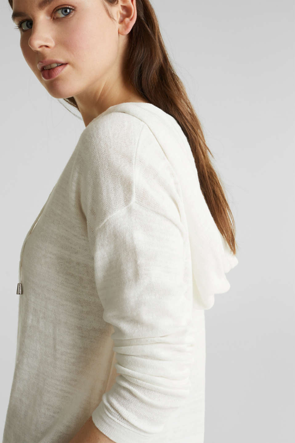 Hooded jumper with linen, OFF WHITE, detail image number 2