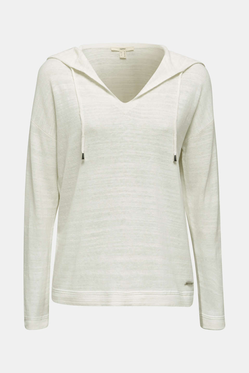 Hooded jumper with linen, OFF WHITE, detail image number 6