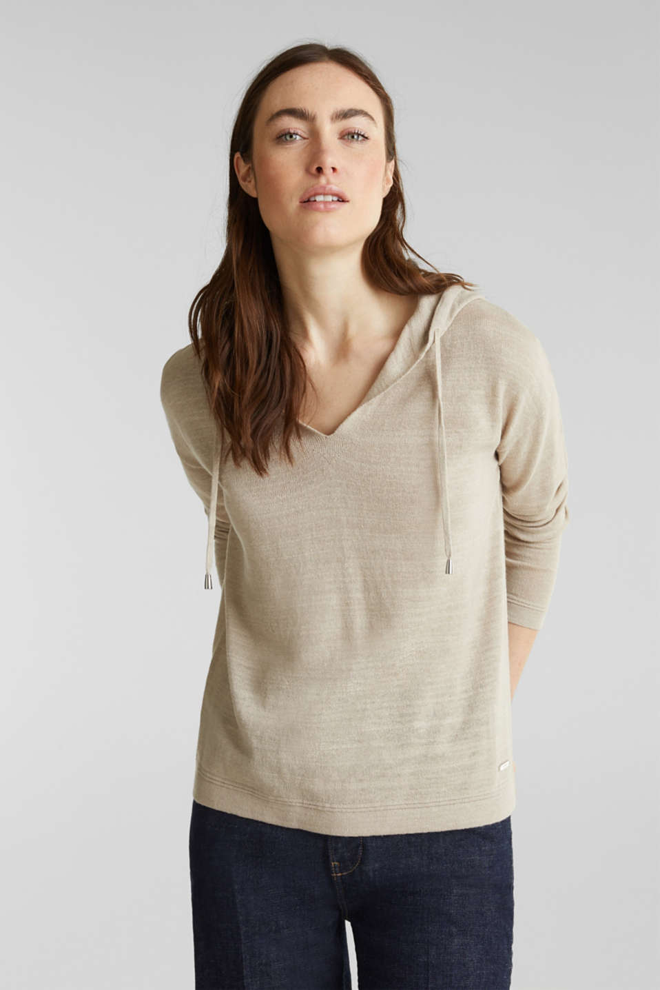 Hooded jumper with linen, BEIGE, detail image number 0