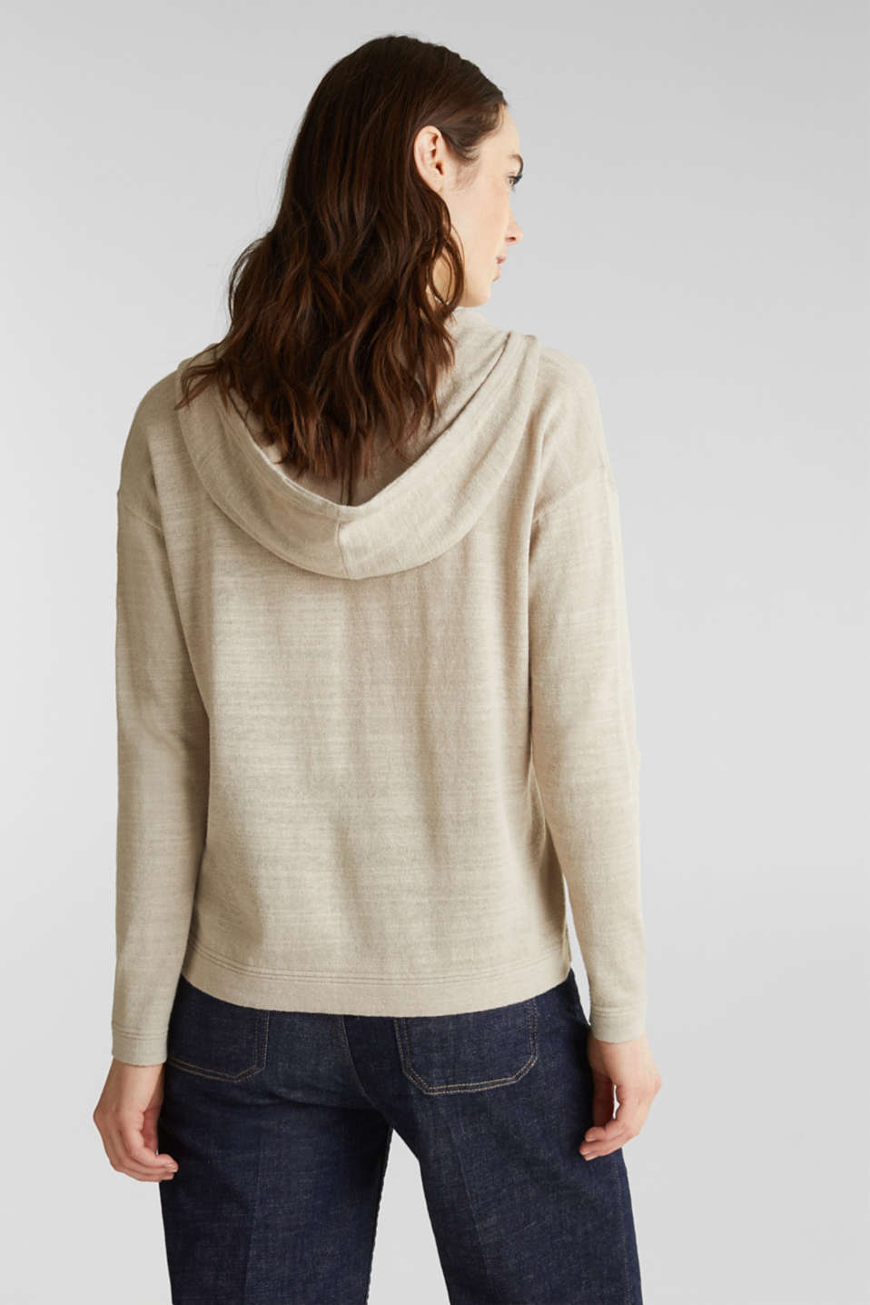 Hooded jumper with linen, BEIGE, detail image number 3