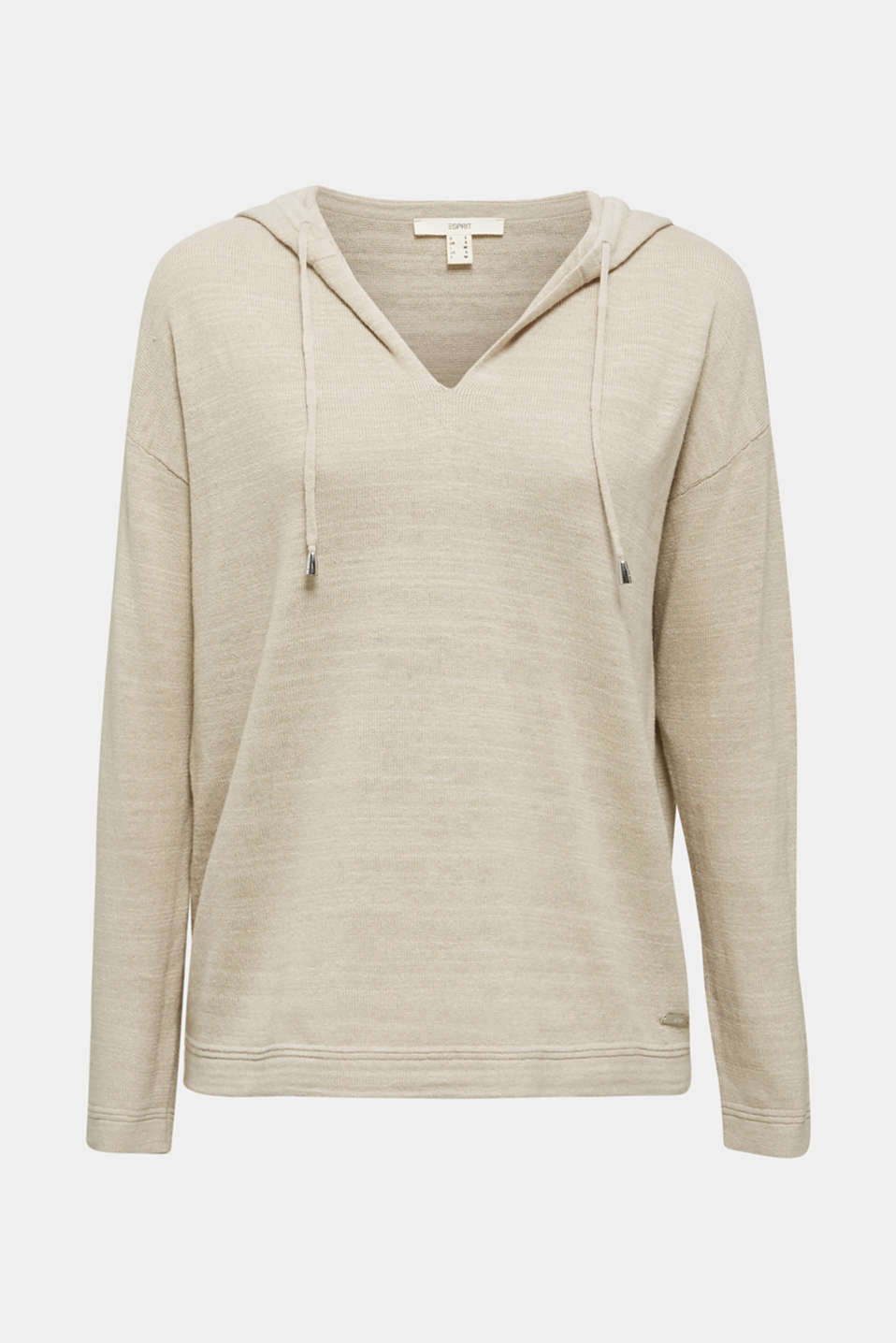 Hooded jumper with linen, BEIGE, detail image number 5