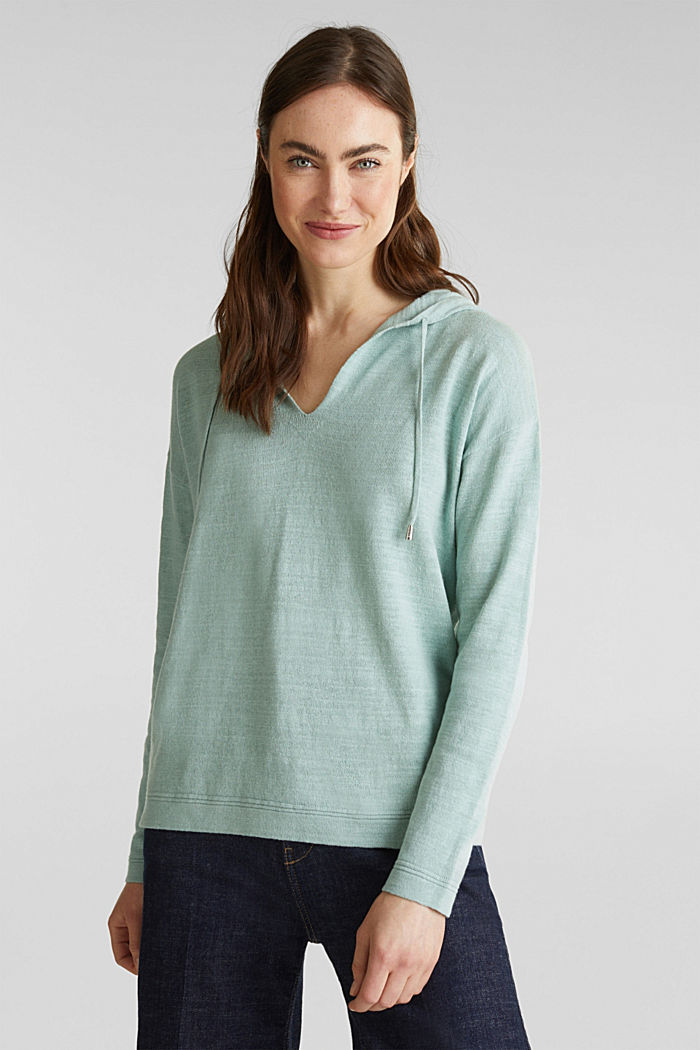 Hooded jumper with linen, LIGHT AQUA GREEN, detail image number 0