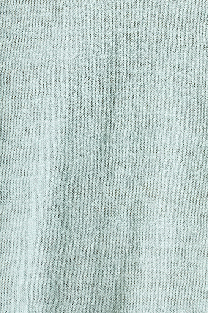 Hooded jumper with linen, LIGHT AQUA GREEN, detail image number 4