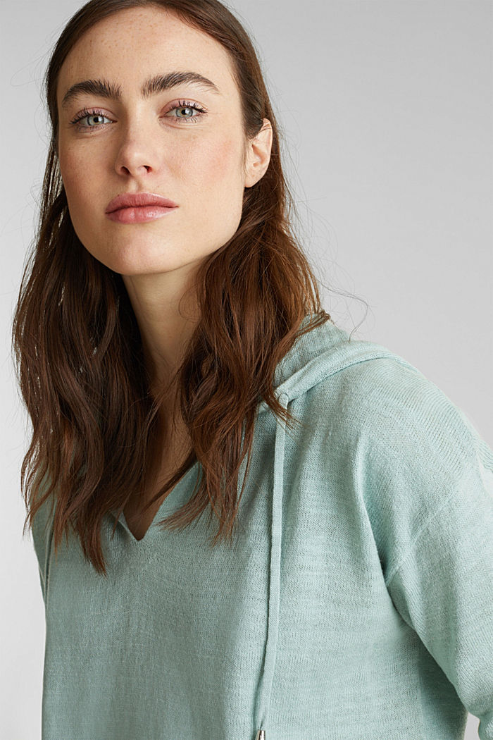Hooded jumper with linen, LIGHT AQUA GREEN, detail image number 5