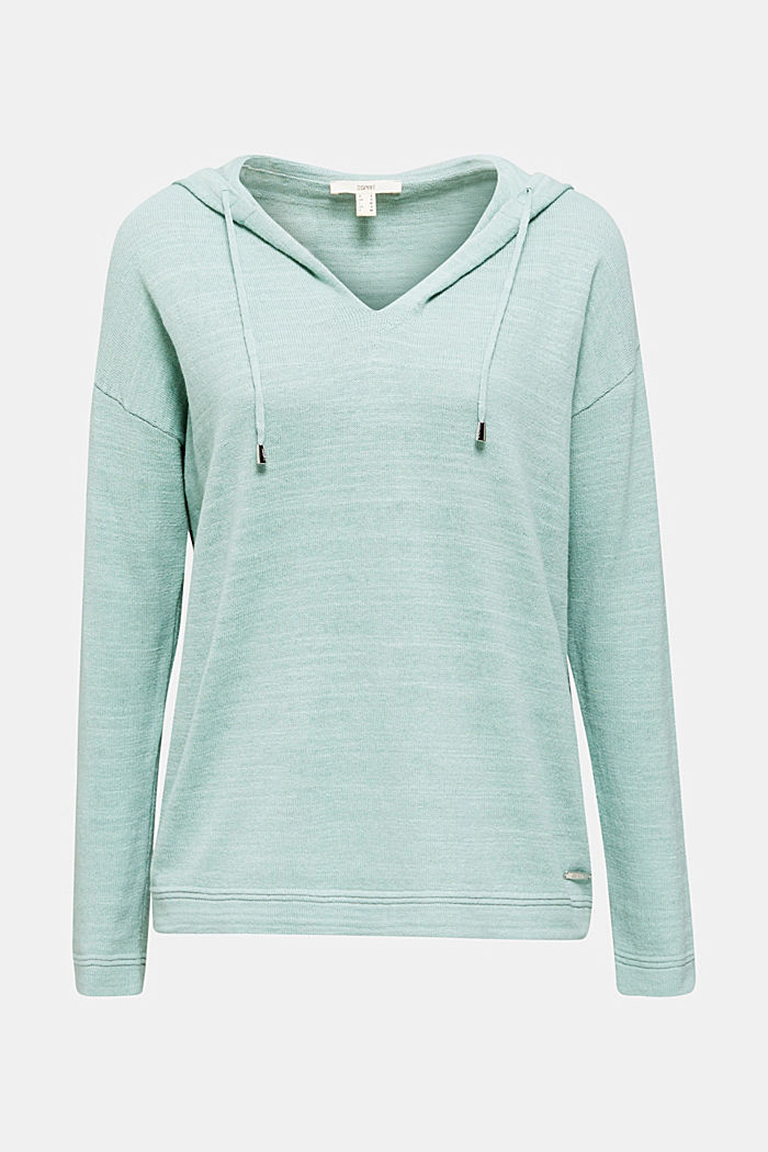 Hooded jumper with linen, LIGHT AQUA GREEN, detail image number 6