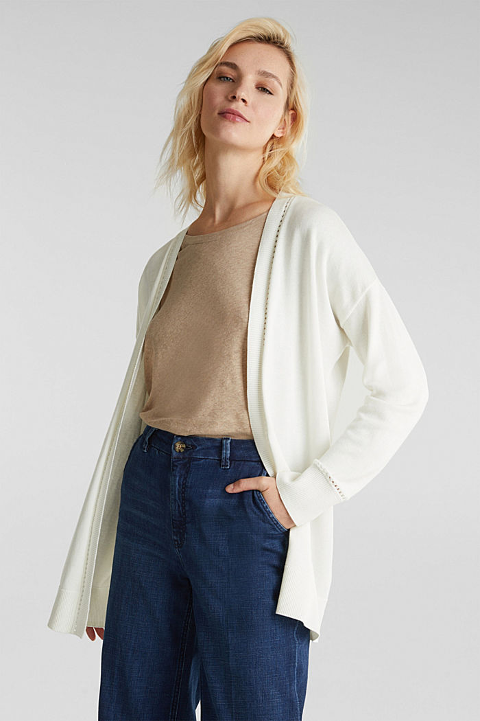 Cardigan with open-work pattern details, OFF WHITE, detail image number 0