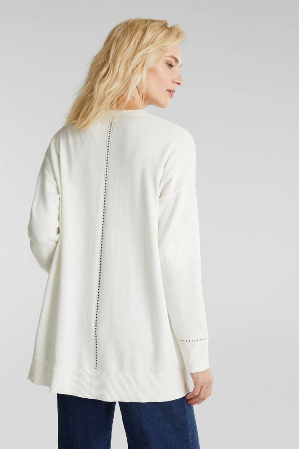 Cardigan with open-work pattern details, OFF WHITE, detail image number 3