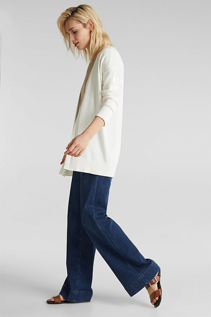Cardigan with open-work pattern details, OFF WHITE, detail image number 1