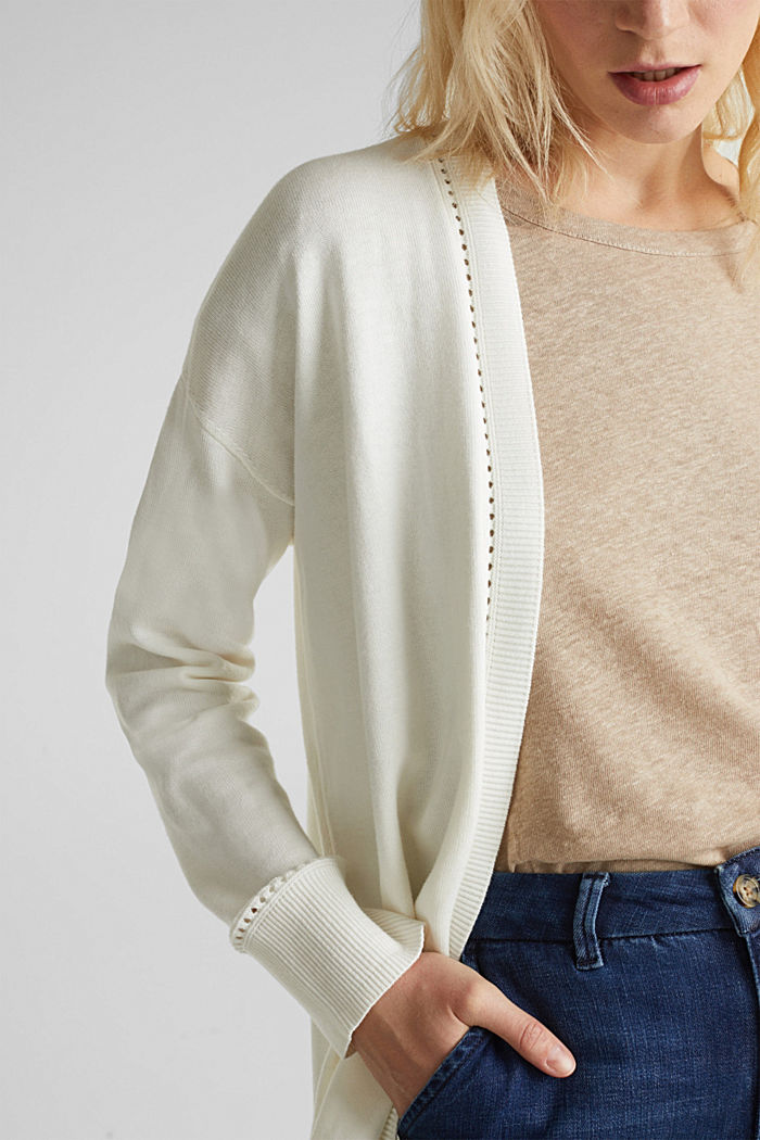 Cardigan with open-work pattern details, OFF WHITE, detail image number 2