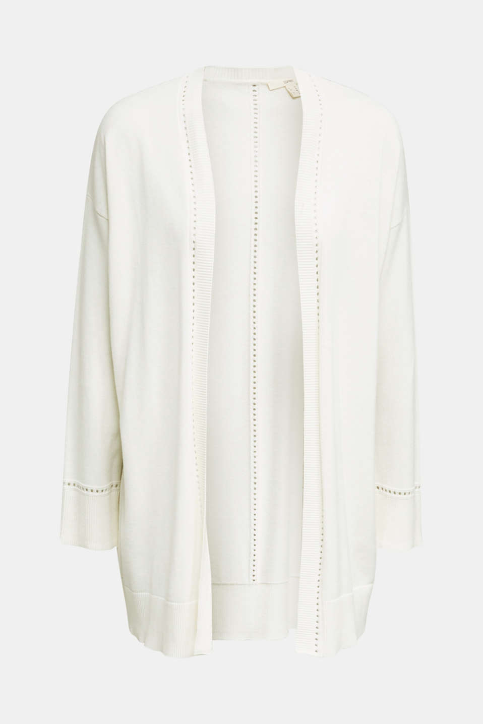 Cardigan with open-work pattern details, OFF WHITE, detail image number 5