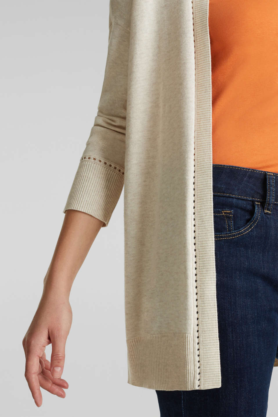 Cardigan with open-work pattern details, SAND, detail image number 5