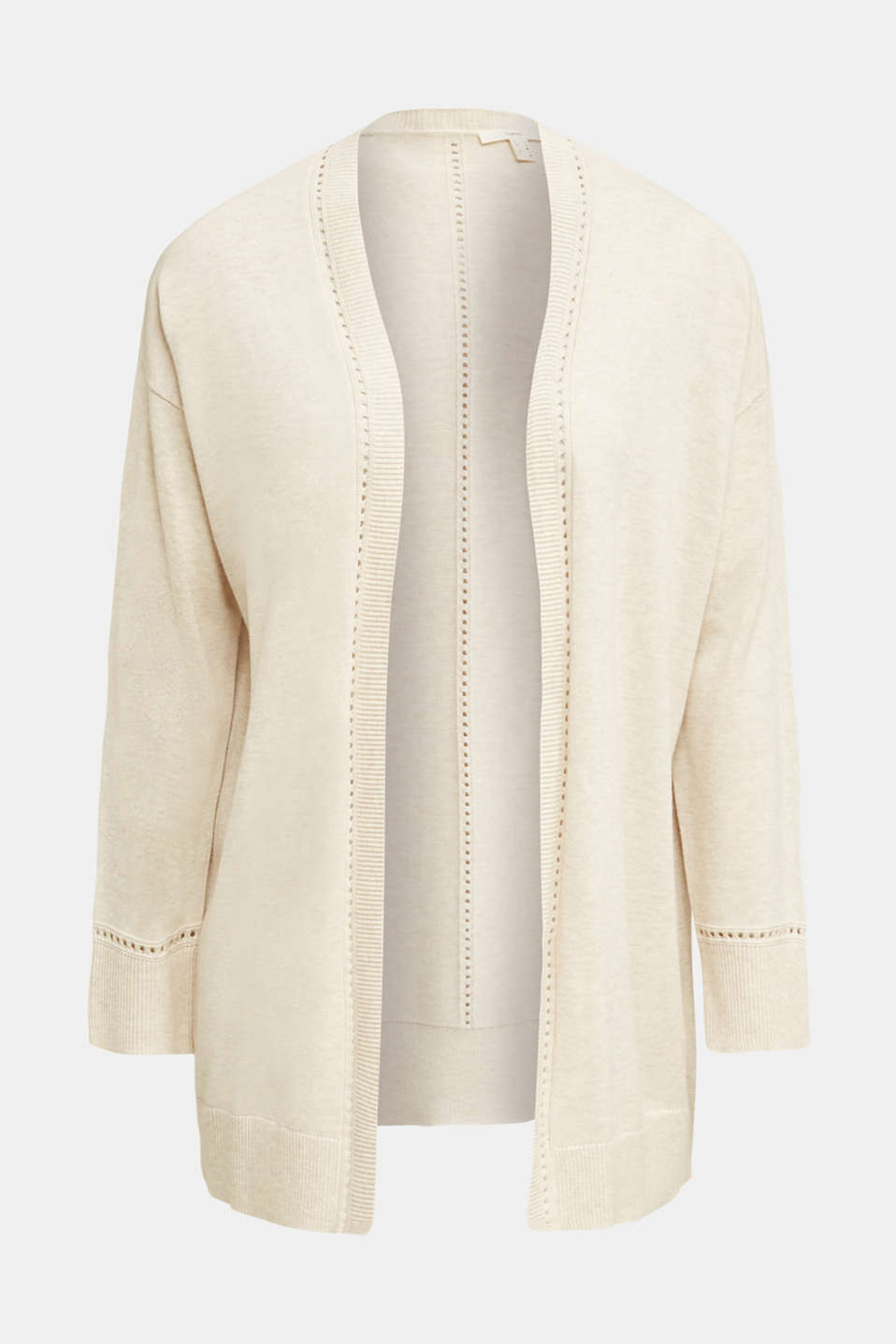 Cardigan with open-work pattern details, SAND, detail image number 6