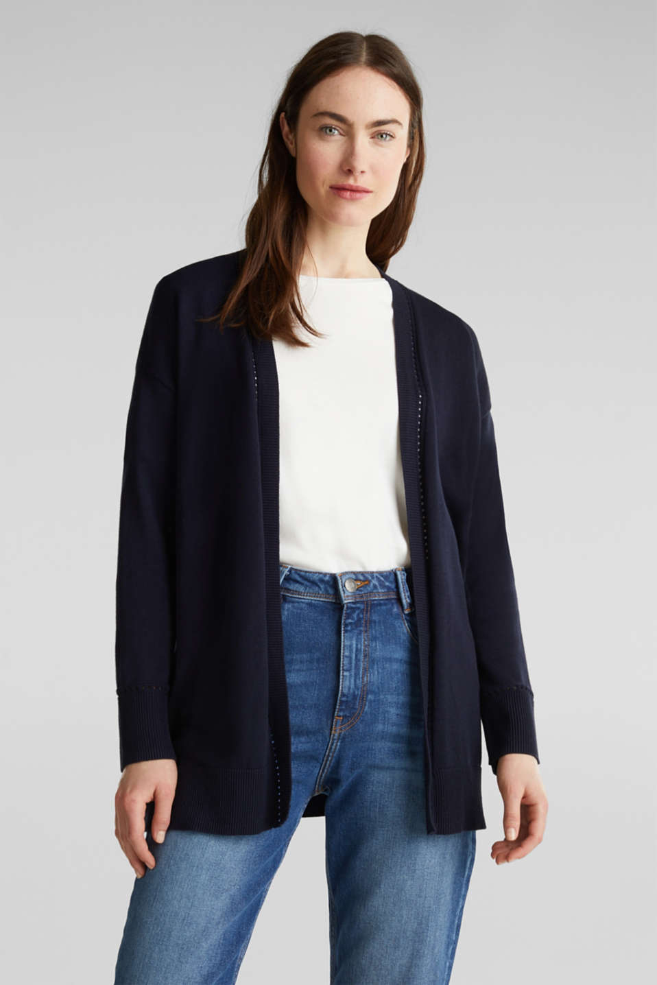 Cardigan with open-work pattern details, NAVY, detail image number 0