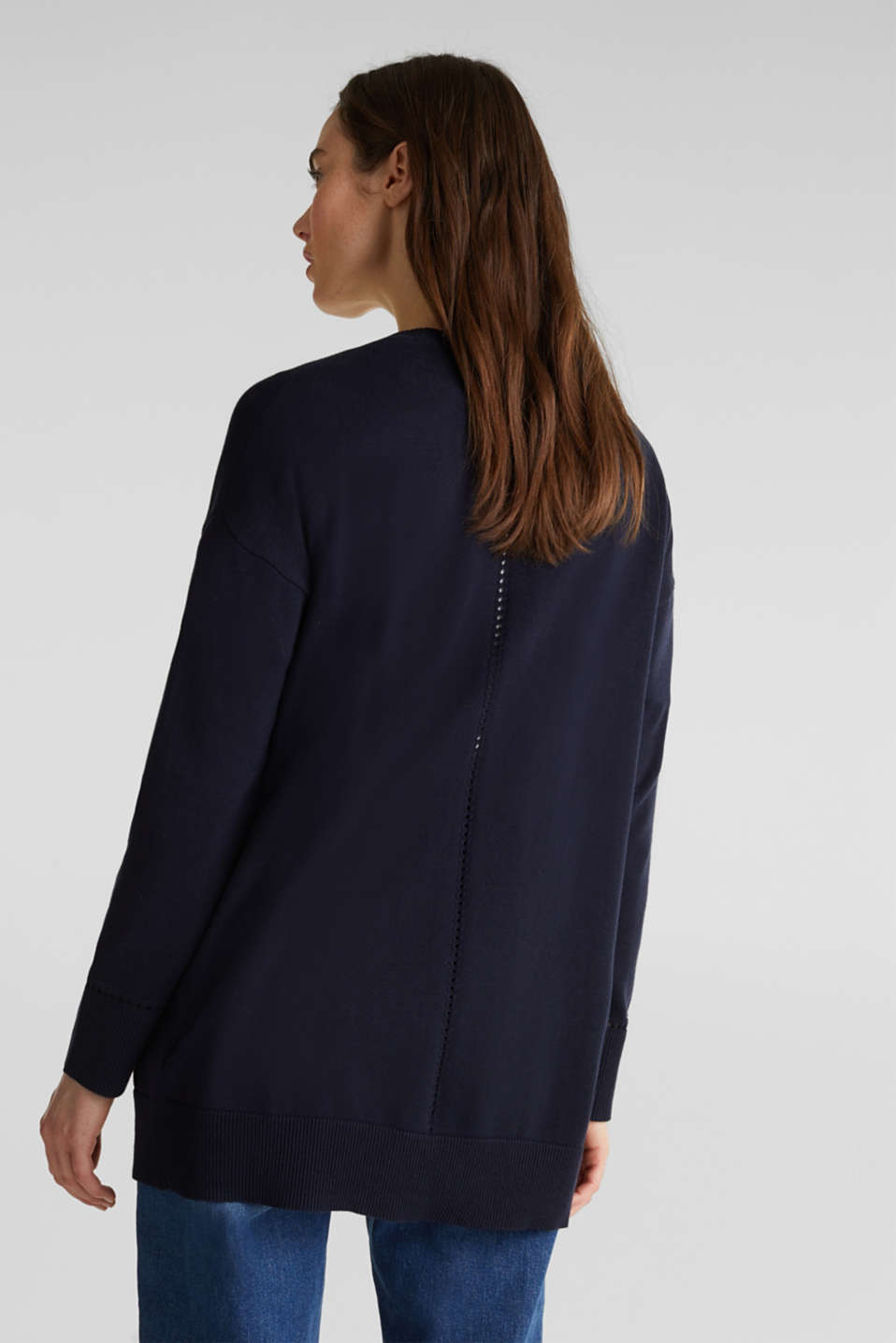 Cardigan with open-work pattern details, NAVY, detail image number 3