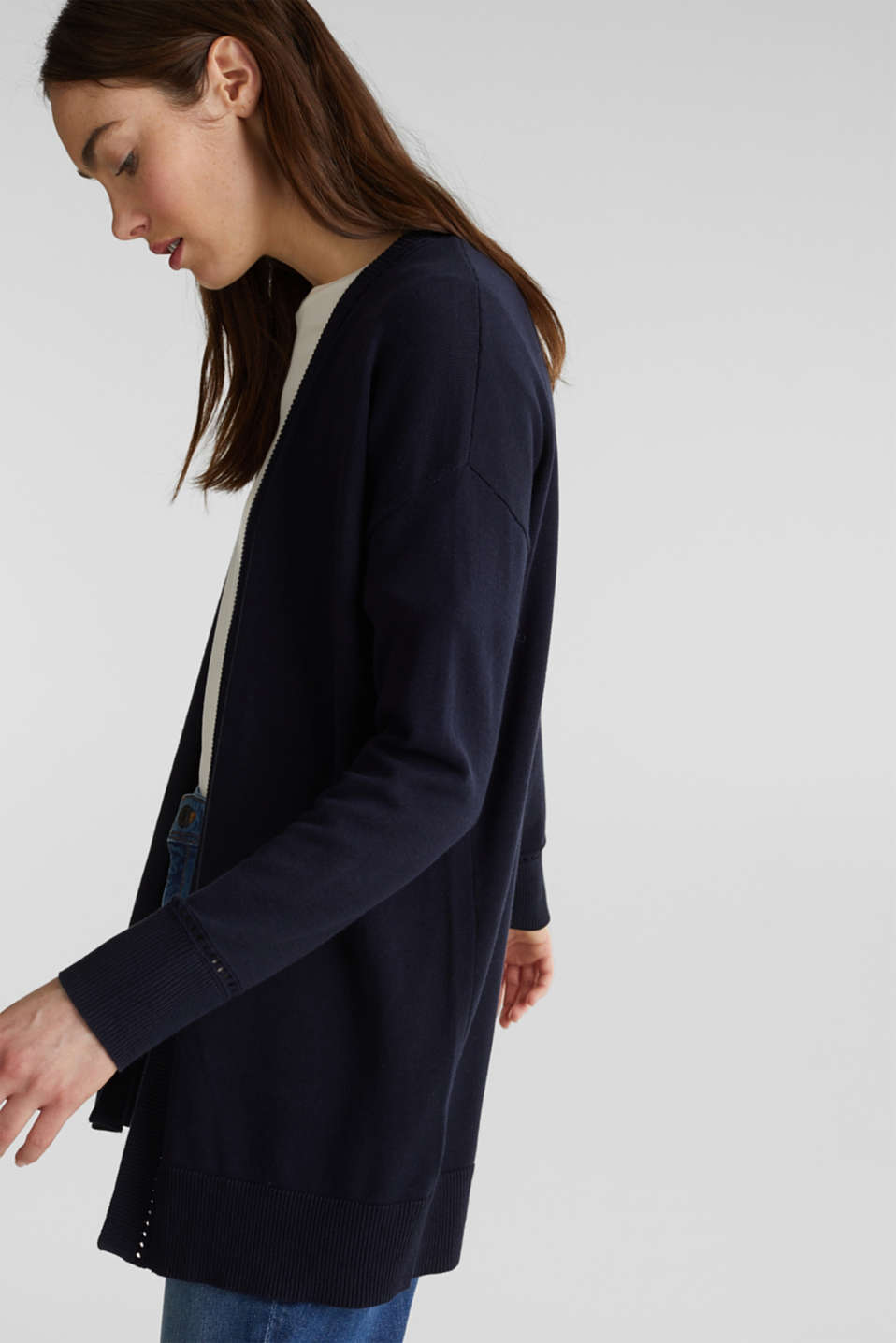 Cardigan with open-work pattern details, NAVY, detail image number 5