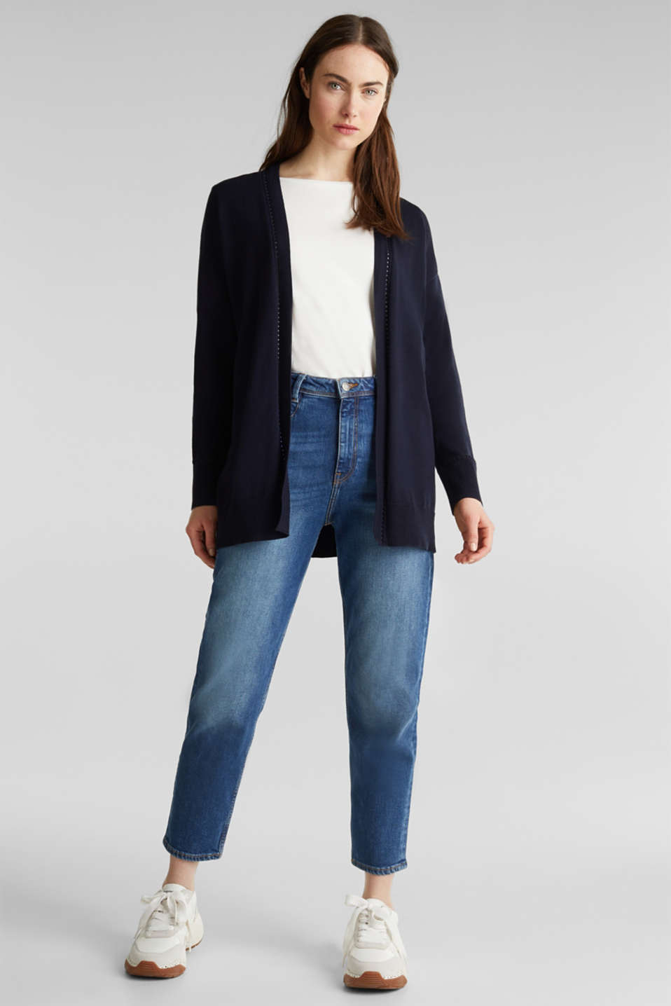 Cardigan with open-work pattern details, NAVY, detail image number 1