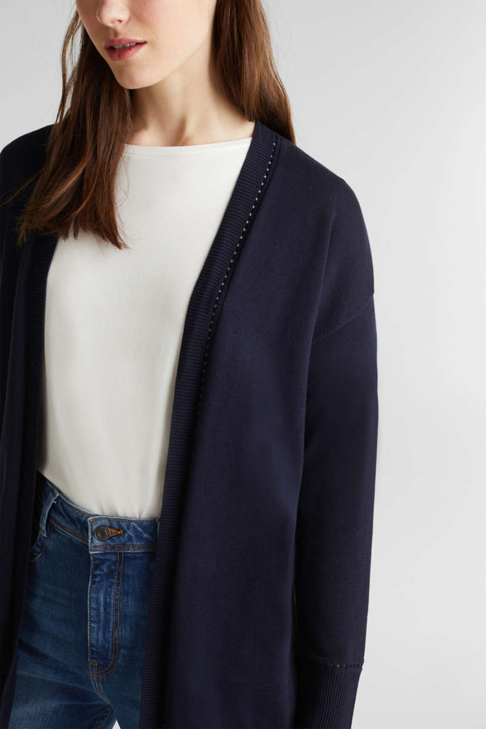 Cardigan with open-work pattern details, NAVY, detail image number 2