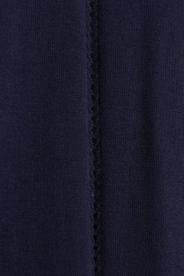 Cardigan with open-work pattern details, NAVY, detail