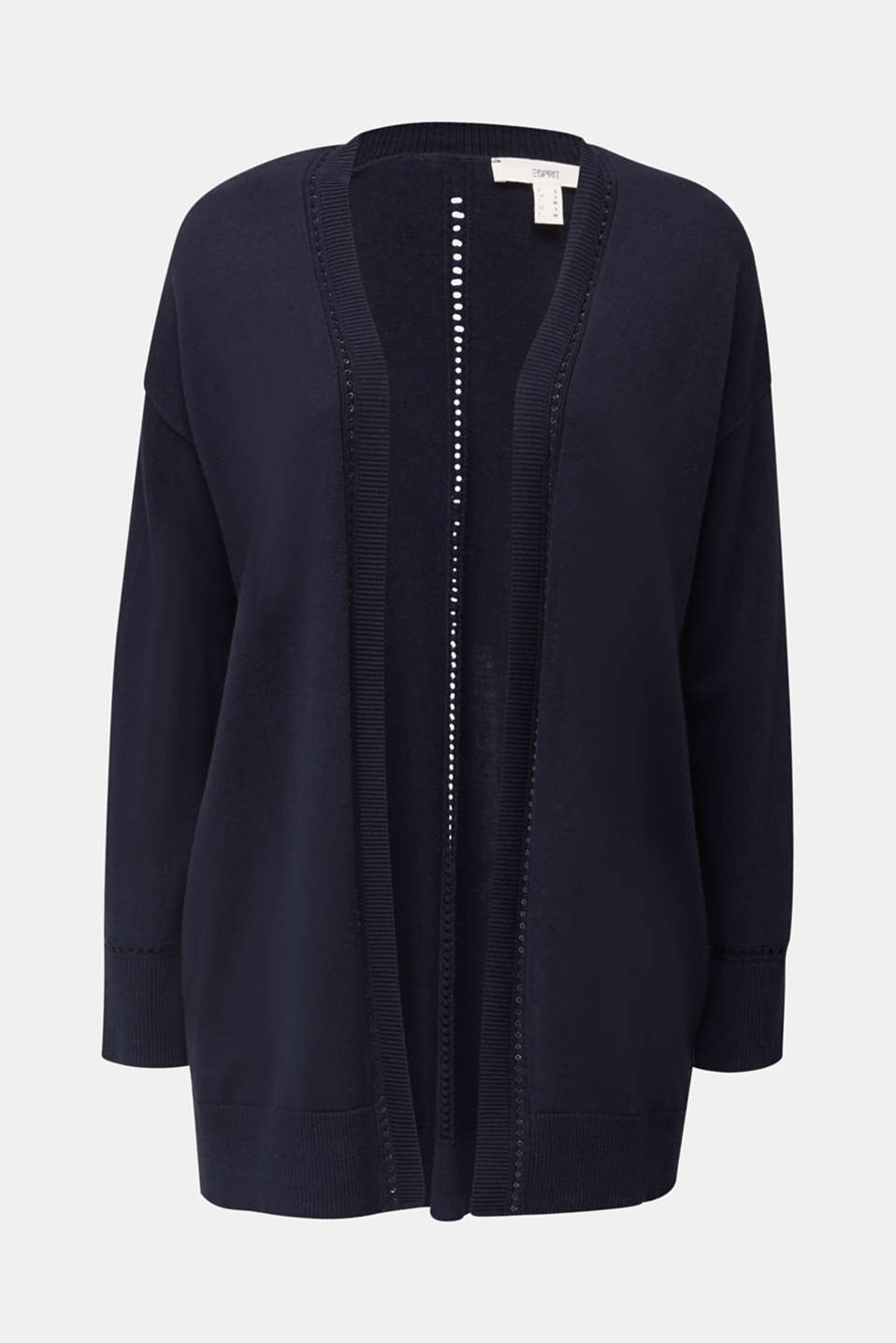 Cardigan with open-work pattern details, NAVY, detail image number 6
