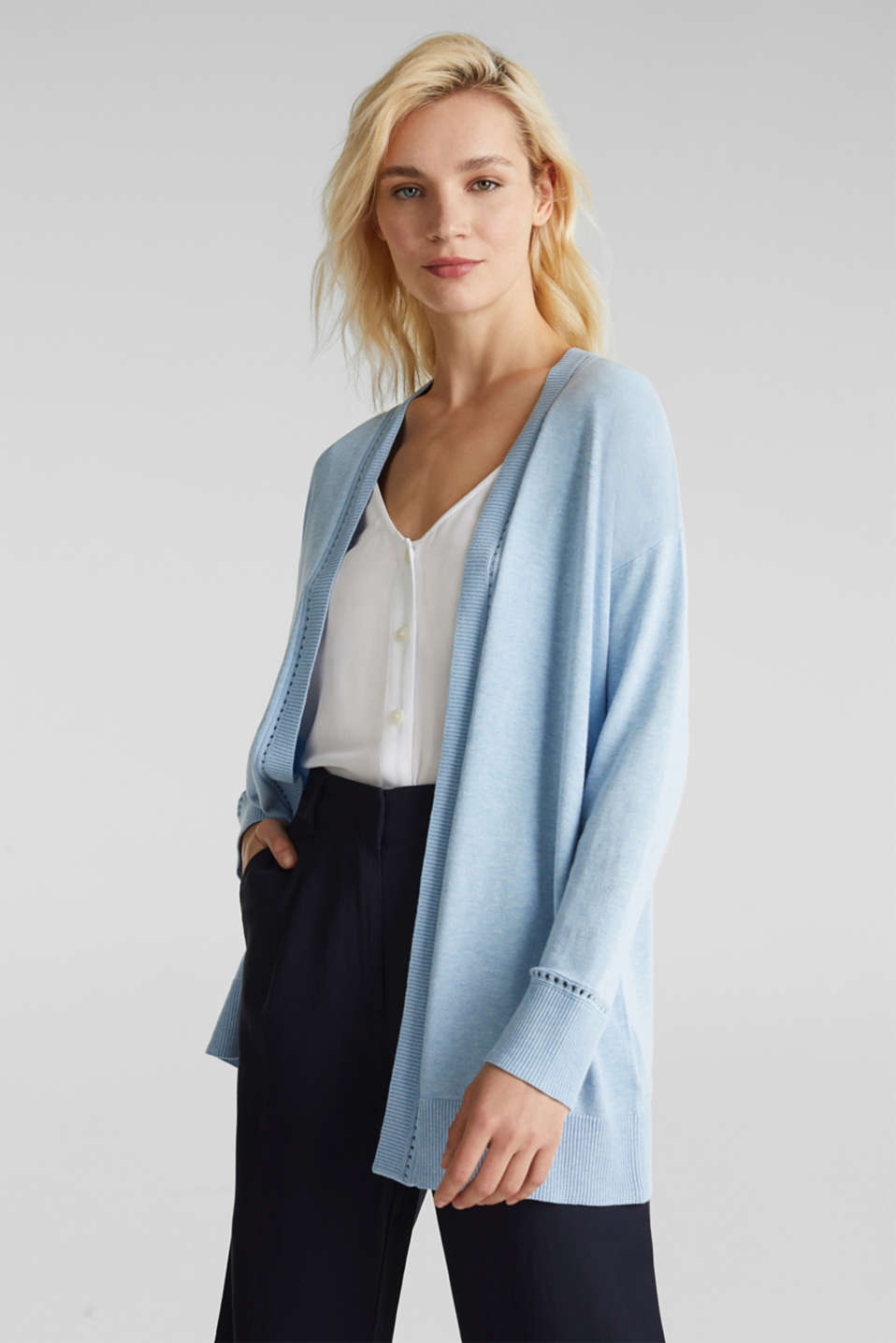 Cardigan with open-work pattern details, LIGHT BLUE, detail image number 0